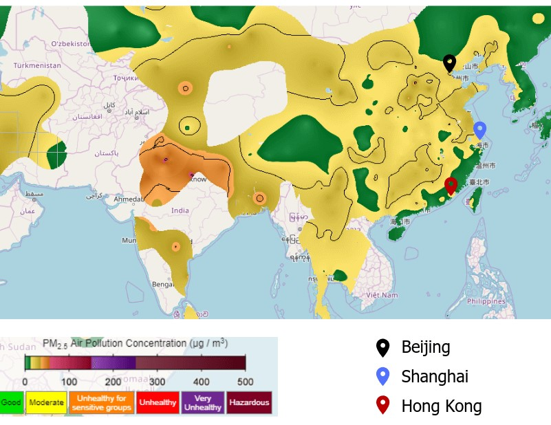 Air Pollution in China map1