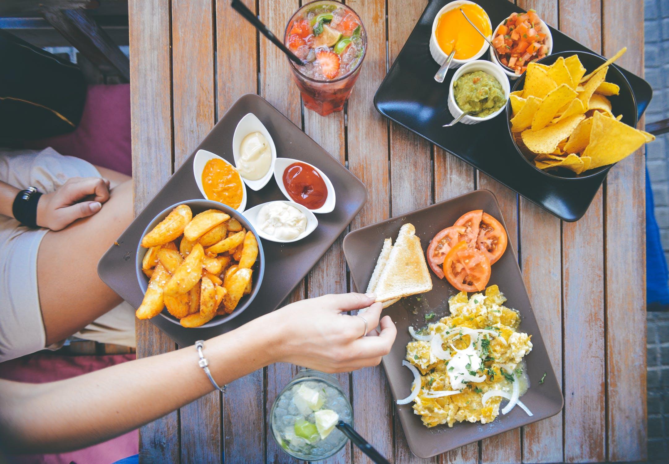 food salad restaurant person
