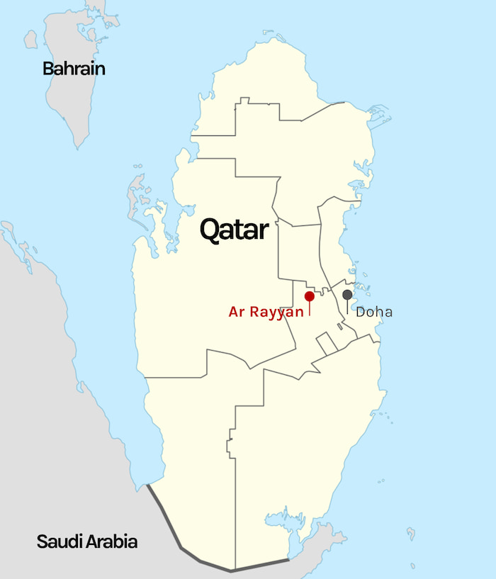 Doha on map of Qatar