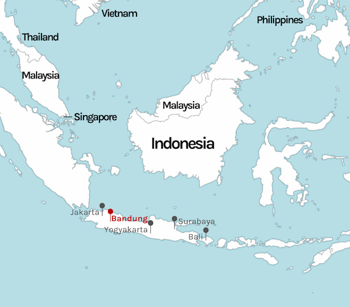 Indonesia map with Jakarta highlighted
