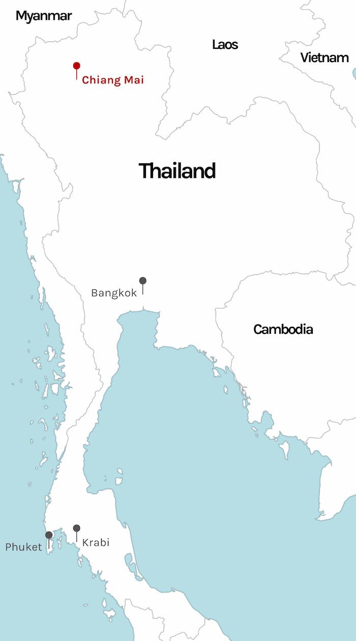 Bangkok marked on map of Thailand
