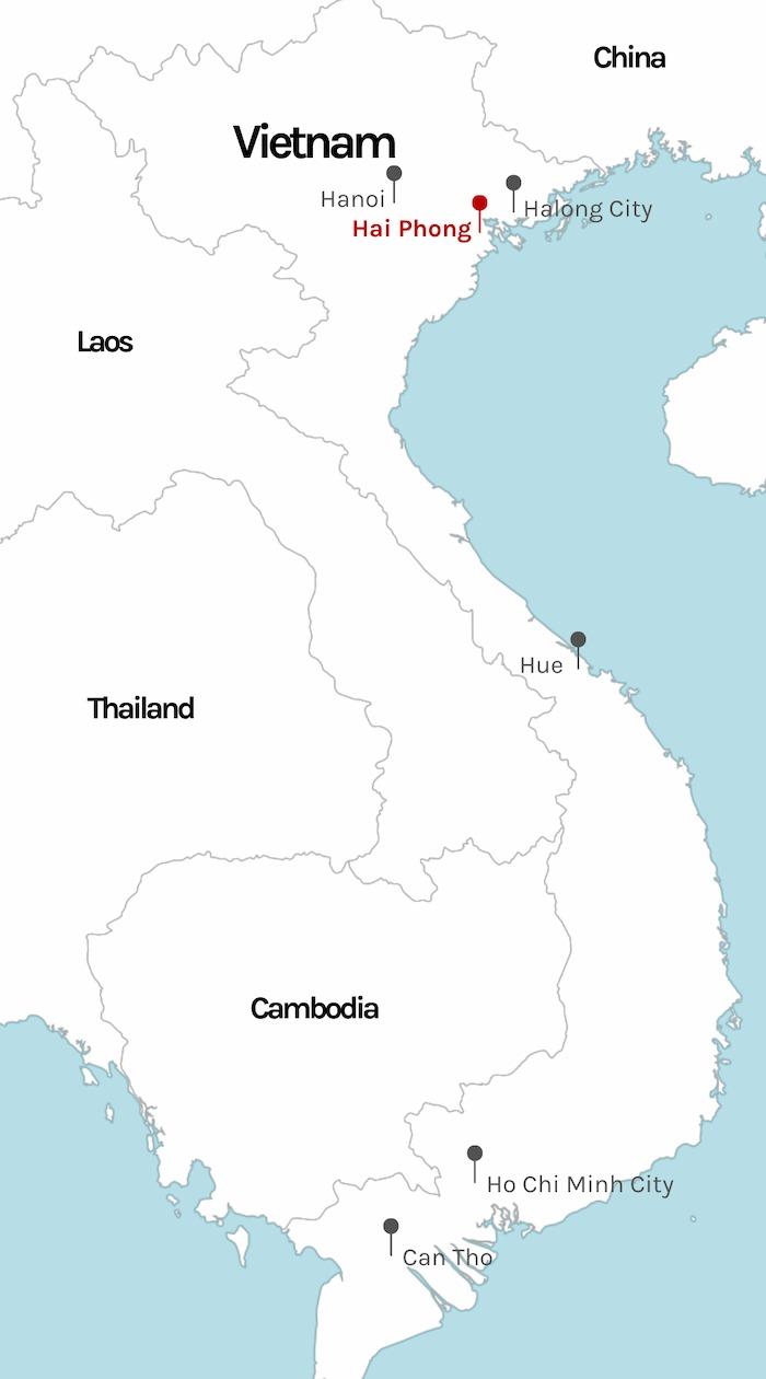 Hanoi marked on Vietnam map