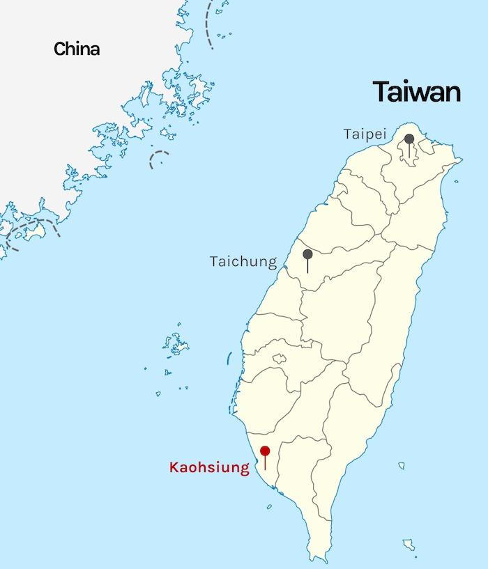 Taipei marked on map of Taiwan