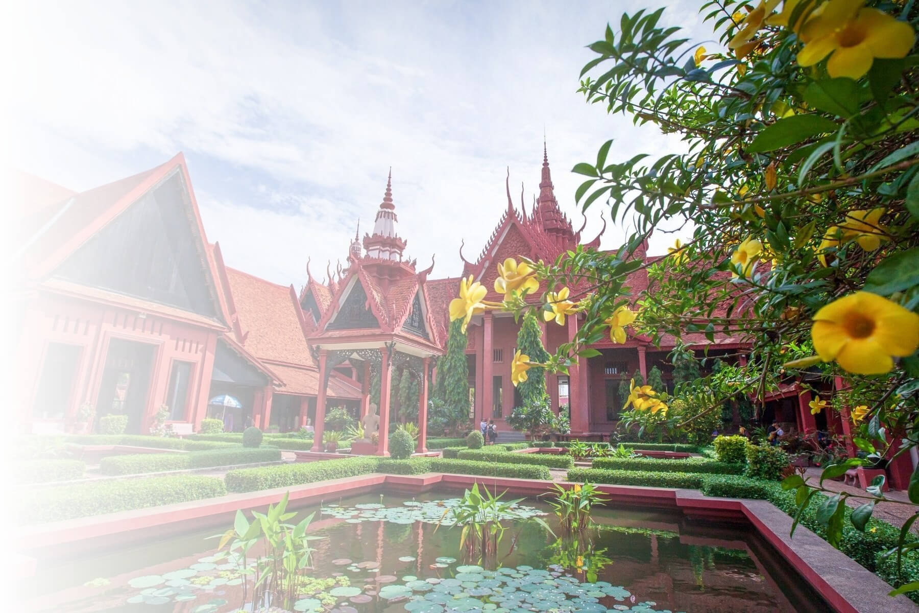 Phnom Penh garden and buildings