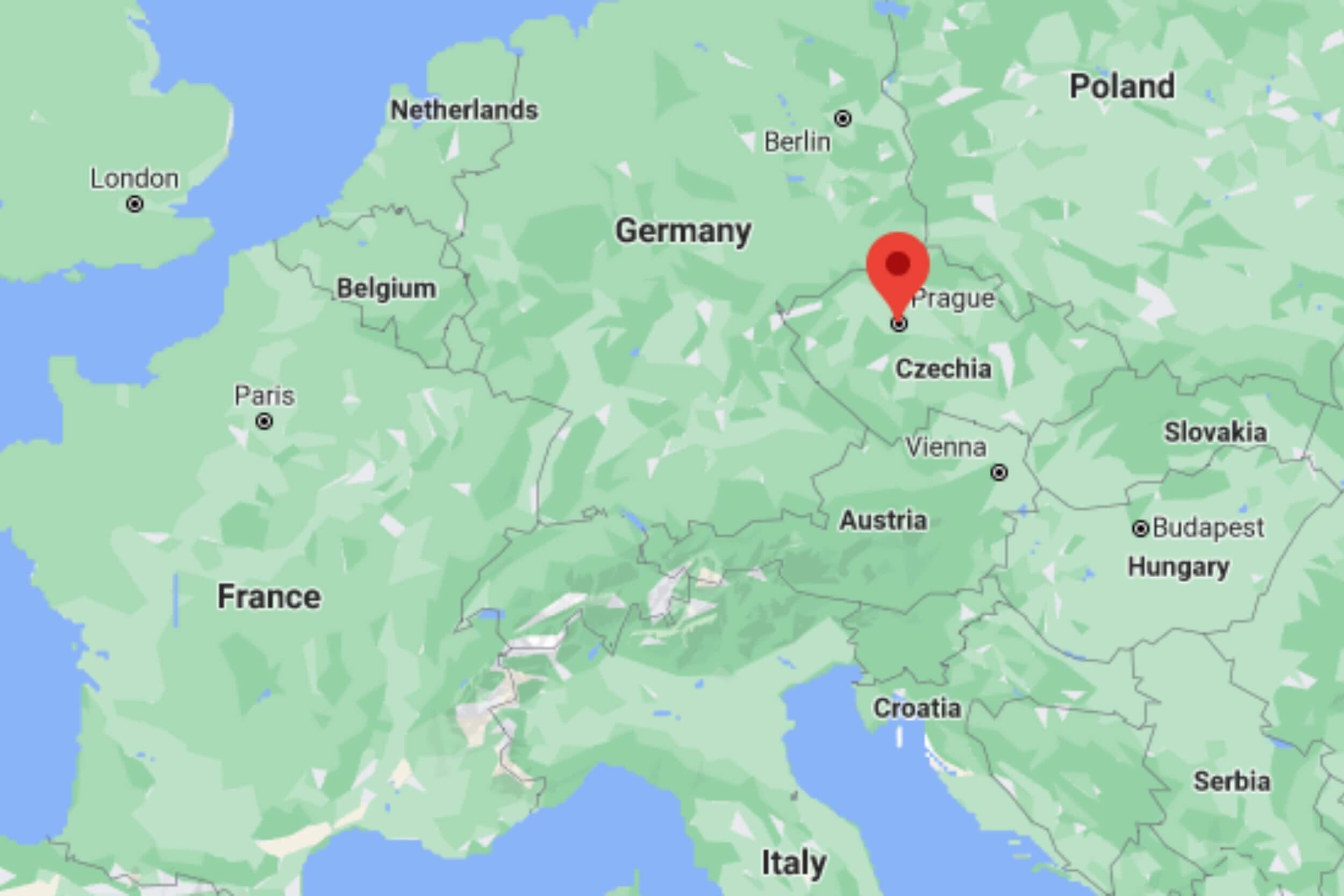Prague on map
