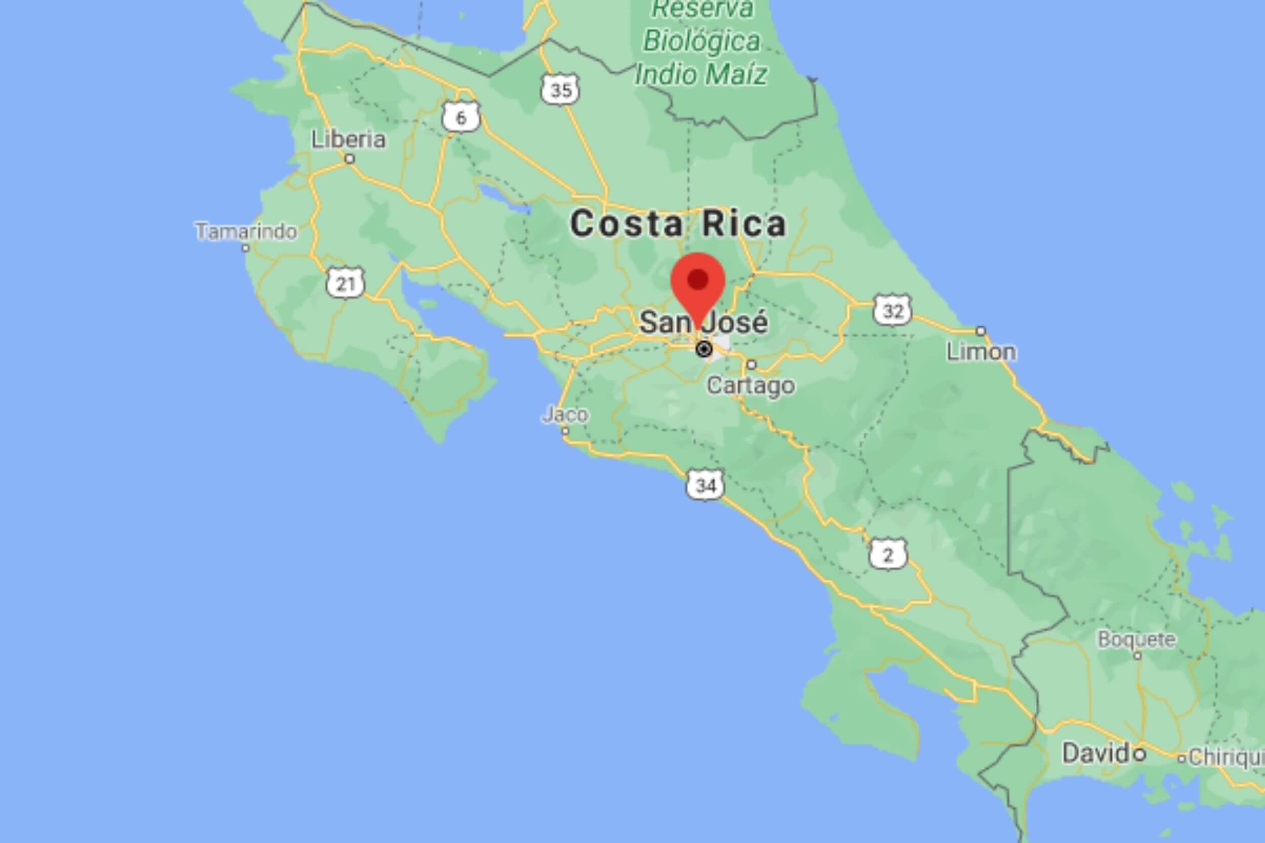 map of costa rica
